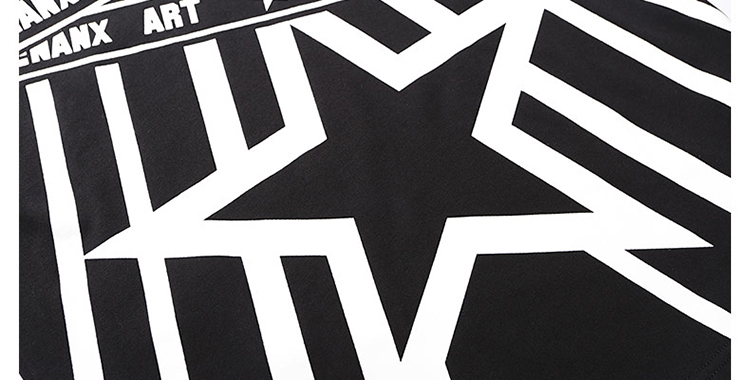 genanx闪电潮牌夏季新款黑白印花五角星纯棉短袖宽松水洗男士t恤 c484