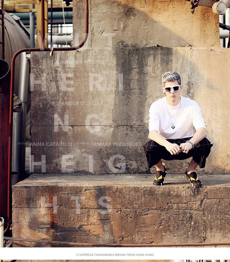 genanx纯色半袖t恤 宽松简约欧美街头嘻哈风大码男半袖t恤纯棉