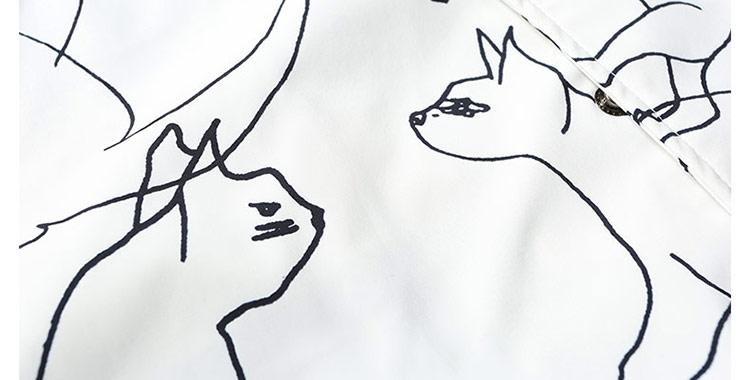 遍布周身的各式猫咪简笔画图案