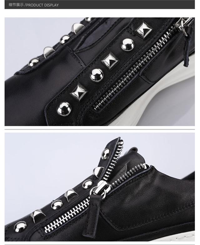 genanx闪电潮牌板鞋黑色系带头层牛皮男青年黑面白底