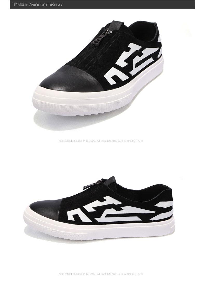 genanx闪电潮牌印花休闲板鞋夏季潮流韩版圆头平底白底黑鞋男青年gx02